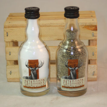 Salt & Pepper Shaker from Upcycled Cazadores Tequila Mini Liquor Bottles