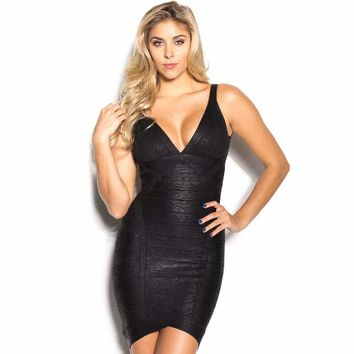 Black Metallic V-neck Backless Bodycon Cocktail Party Bandage Dress