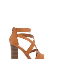 Strappy Faux Leather Block Heels
