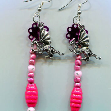 dragon earrings jewelry pink bead handmade long dangles fantasy jewelry