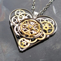 "Heart Necklace ""Faith"" Valentine's Day Elegant Industrial Heart Pendant Mechanical Steampunk Love Sculpture Gershenson-Gates Gear Heart"