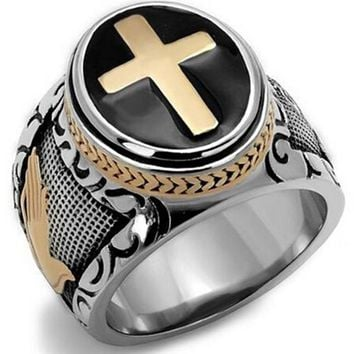Men's Ring Gold Silver Sterling Size 7-15 Band Cross Ring Prayer Christian Jesus