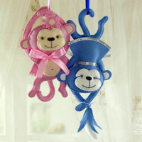 Felt ornament Monkey Nursery Decorative plush Baby mobile plush Baby room decor Garland toy Baby party decor Wool toy