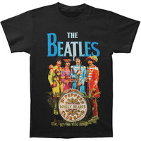 Beatles Men's  Sgt. Peppers Characters T-shirt Black