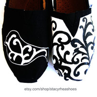 Damask TOMS with bird by StacyRheaShoes on Etsy
