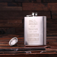 Personalized 7 oz Stainless Steel Metal Whiskey Scotch Flask Unique Men Christmas, Groomsmen, Man Cave, 21st Birthday Gift