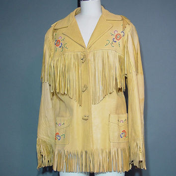 Vintage 50s Chris Line Leather Fringe Jacket Coat 1950s Beaded Western Cowgirl Cowboy