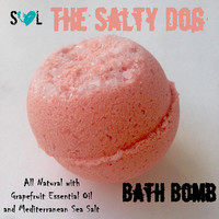 The Salty Dog Bath Bomb, Grapefruit Bath Bomb, Bath Bomb with Mediterranean Sea Salt & Epsom Salt, Jumbo Bath Bombs 8 oz