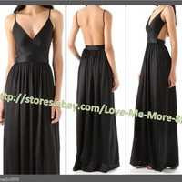 Evening Cocktail Party Womens Deep V Neck Backless Long Maxi Dress Black Small