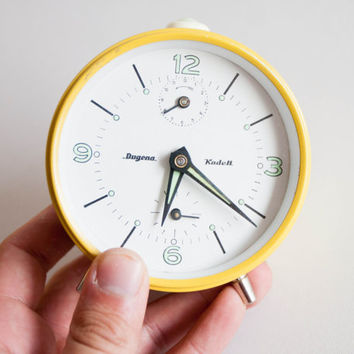 Yellow Alarm Clock, Dugena German Desk Clock, Mechanical Office Clock, Summer Sunshine Sun Bright