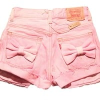 Levi's pink high waist shorts with bows | Candid L.A.