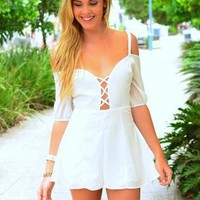 White Off the Shoulder Playsuit with Lace Up Front Detail