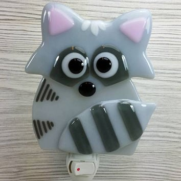 Nightlight - Lightnight - Small mood light for bedroom, bathroom or baby nursery room. Racoon. Fused glass. Gifts. Handmade