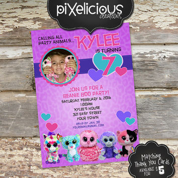 BEANIE BOO Custom Photo Birthday Invitation - Digital File, You Print - 5x7