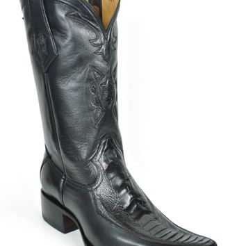 Gavel Handcrafted Men's Spanish Square Toe Black Ostrich Leg Cowboy Boots