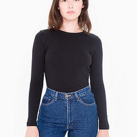 Rib Long Sleeve Crew Neck Top