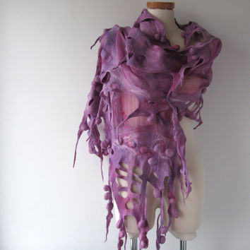 Nuno Felted scarf Ball felt scarf purple   stole  Pink nuno felted scarf Silk Wool shawl  felted shawl by Galafilc