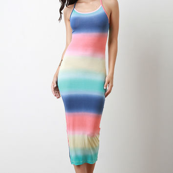Pastel Stripe Dye Sleeveless Maxi Dress