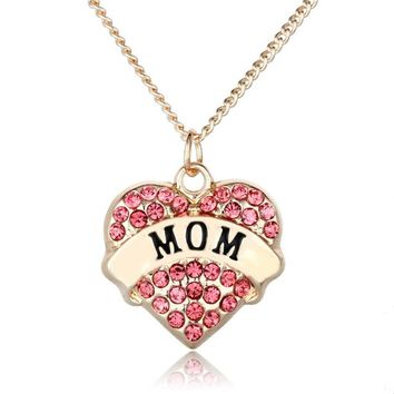 Beautiful, Gold Mom Heart Necklace With Rhinestones 3 Different colors