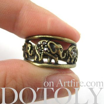 Elephant Animal Ring in Bronze - Sizes 8 ONLY