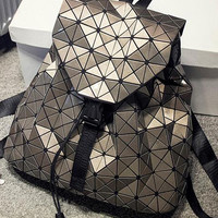 Coffee Geometric PU Backpack