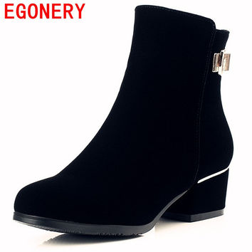 EGONERY shoes 2017 winter women modern round toe ankle boots causal metal decoration riding equestrian square high heels shoes