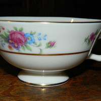 Set of 4 Lenox Rose Tea Cups - Lovely Vintage Rose Decorated China Tea Cups - Gold Stamp