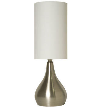 Light Accents Modern Touch Table Lamp 18 Inches Tall with 3-way Switch Feature and White Fabric Drumshade