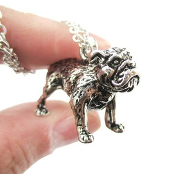 Realistic Life Like Bulldog Shaped Animal Pendant Necklace in Shiny Silver | Jewelry for Dog Lovers