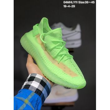 e72302209 Adidas Yeezy Boost 350V2 Fluorescent green hollow coconut runnin
