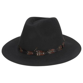 Wanderlust Black Feather Trim Wide Brim Panama Hat