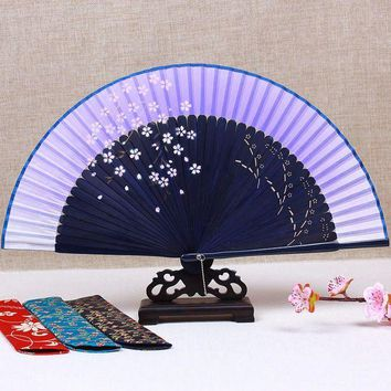 DCCKFS2 Ink painting cherry Japanese Fan Chinese Traditional Craft Bamboo Folding Fan Handheld Portable Wedding Fans Personalized