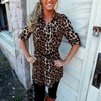 Belted Leopard Print Tunic