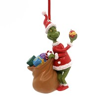 Holiday Ornaments Grinch With Bag Ornament Resin Ornament