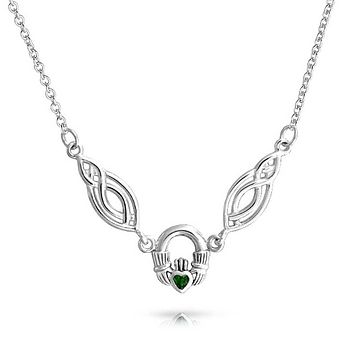 Claddagh Celtic Circle Green Heart Glass Necklace 925 Sterling Silver
