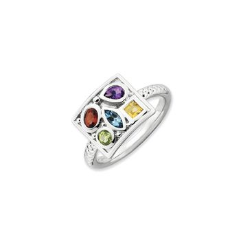 Rhodium Plated Sterling Silver & Gemstone Stackable 10mm Collage Ring