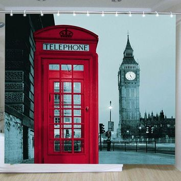 New Famous City Landmark Pattern curtains for living room London Big Ben curtains for bedroom Polyester Shower Curtain Cortinas