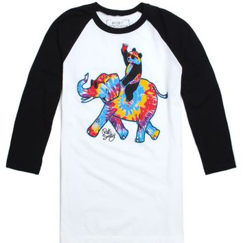 Riot Society Trippy Elephant Raglan T-Shirt - Mens Tee - White