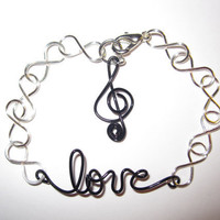 Love for Music Bracelet Infinity Silver Plated by aLilJazzJewelry