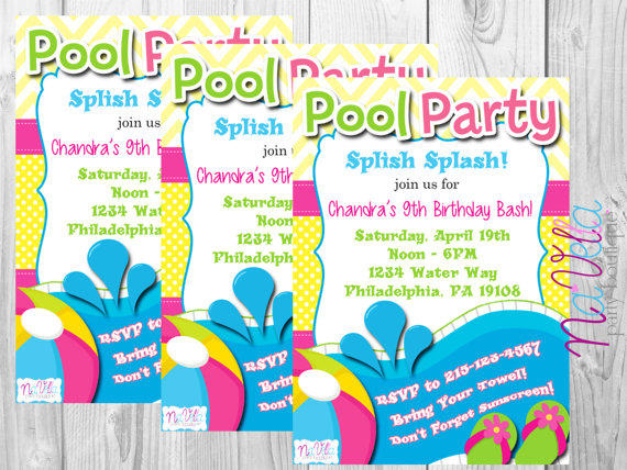 Pool Party Birthday Invitation Splash Invitations Par