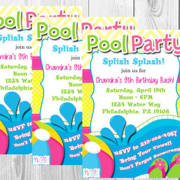 Pool Party Birthday Invitation/Splash Party/Invitations/Pool Party/Summer Party/Water Park/Digitals/Printable Invitation