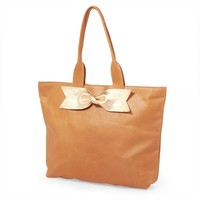 Caramel Accent Tote: Gold Bow
