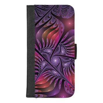 Colorful Fantasy Abstract Modern Purple Fractal iPhone 8/7 Plus Wallet Case