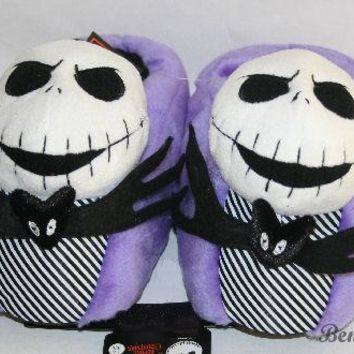 Licensed cool NEW Disney Tim Burton NIGHTMARE BEFORE CHRISTMAS JACK Skeleton Plush slippers SM