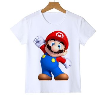 Super Mario party nes switch  bros Kid's t shirts  Wario Boy Girl Baby t shirt cute game fans daily t shirts high quality game gift Z37-1 AT_80_8