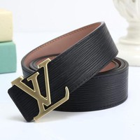 PEAP LV Louis Vuitton Fashion Smooth Buckle Belt Leather Belt-2