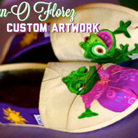 Tangled Pascal inspired  Painted TOMS or Vans Artwork and shoes included