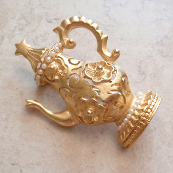Tall Teapot Brooch Gold Tone Pearls Leslie Block Vintage 051116BT