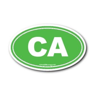 California CA Euro Oval Sticker LIME GREEN