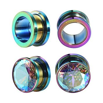 BodyJ4You 2 Pairs Surgical Steel Screw-Fit Tunnel Rainbow Plugs 12mm (1/2 Inch) Gauges